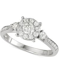 Macy's - Diamond Halo Cluster Engagement Ring (3/4 Ct. T.w.) In 14k White Gold - Lyst