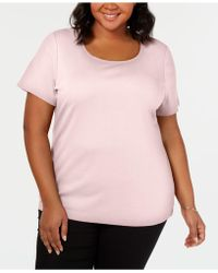a08f96bc591 Lyst - Karen Scott Plus Size Cotton Scoop-neck T-shirt