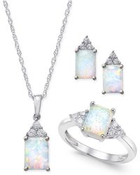 Macy's - Lab-created Opal (1-1/2 Ct. T.w.) And White Sapphire (3/8 Ct. T.w.) Jewelry Set In Sterling Silver - Lyst