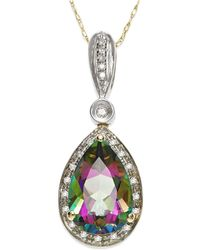 Macy's - Mystic Topaz (3-1/3 Ct. T.w.) And Diamond Accent Pendant Necklace In 14k Gold And 14k White Gold - Lyst