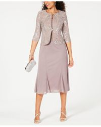 Alex Evenings - Sleeveless Sequin Midi Dress And Jacket - Lyst