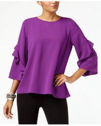 Alfani - Ruffled-sleeve Zip-back Top, Created For Macy's - Lyst