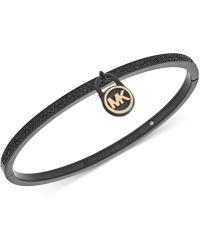 Michael Kors - Black Ion-plated Pavé Logo Lock Bangle Bracelet - Lyst