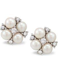 Carolee - Earrings, Silver-tone Small Cluster Button Earrings - Lyst