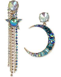 Betsey Johnson - Gold-tone Multi-stone Moon, Star & Chain Mismatch Earrings - Lyst
