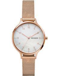 Skagen - Women's Anita Rose Gold-tone Stainless Steel Mesh Bracelet Watch 36mm Skw2633 - Lyst
