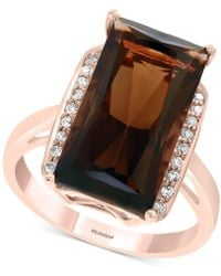Effy Collection - Effy® Smoky Quartz (7-1/3 Ct. T.w.) & Diamond (1/10 Ct. T.w.) Ring In 14k Rose Gold - Lyst