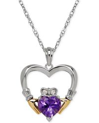 Macy's - Ruby (5/8 Ct. T.w.) And Diamond Accent Heart Pendant Necklace In Sterling Silver And 14k Gold - Lyst