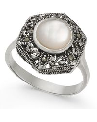 Macy's - Mother-of-pearl And Marcasite Filigree Statement Ring In Silver-plate - Lyst