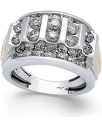 Macy's | Men's Diamond Cluster Two-tone Ring (3 Ct. T.w.) In 10k Gold And White Gold | Lyst
