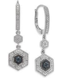 Macy's - Diamond Geometric Drop Earrings (1/10 Ct. T.w.) In Sterling Silver - Lyst