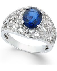 Effy Collection - Sapphire (1-9/10 Ct. T.w.) And Diamond (1/2 Ct. T.w.) Ring In 14k White Gold - Lyst