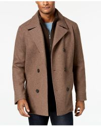 Kenneth Cole - Double Breasted Wool Blend Peacoat With Bib - Lyst