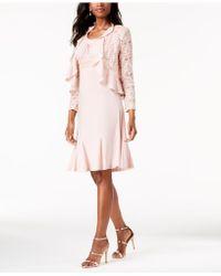R & M Richards - R&m Richards Metallic A-line Dress And Ruffled Jacket - Lyst