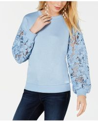 INC International Concepts - I.n.c. Lace-sleeve Sweatshirt, Created For Macy's - Lyst