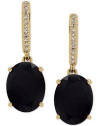 Macy's - Onyx (9 X 7mm) & Diamond Accent Drop Earrings In 14k Gold - Lyst