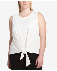 CALVIN KLEIN 205W39NYC - Plus Size Tie-front Shell - Lyst