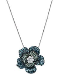 Macy's - Blue And Green Diamond Flower Pendant Necklace In 14k White Gold (1 Ct. T.w.) - Lyst