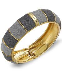 ABS By Allen Schwartz - Gold-tone Gray Textured Bangle Bracelet - Lyst