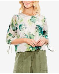 Vince Camuto - Sunlit Palm Ruched Drawstring Blouse - Lyst