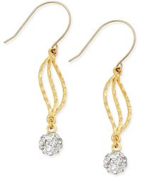 Macy's - Cubic Zirconia Fireball Drop Earrings In 10k Gold - Lyst