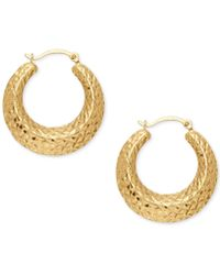 Macy's - Textured Hoop Earrings In 14k Gold - Lyst