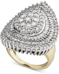 Macy's - Pear Diamond Cluster Ring In 14k White Gold And 14k Gold (3 Ct. T.w.) - Lyst