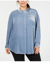 Eileen Fisher - Eileen Fischer Plus Size Velvet Button-front Shirt - Lyst