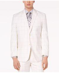 Sean John - Classic-fit Stretch White/gray Windowpane Suit Jacket - Lyst