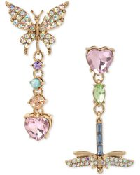 Betsey Johnson - Pavé Butterfly & Dragonfly Mismatched Drop Earrings - Lyst
