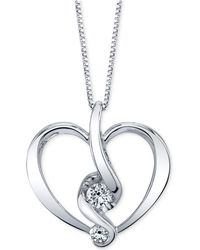 Proud Mom - Diamond Heart Pendant Necklace (1/5 Ct. T.w.) In 14k Gold Or White Gold - Lyst