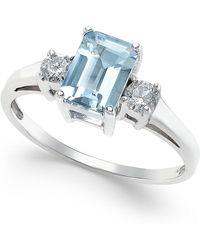 Macy's   Aquamarine (1 Ct. T.w.) And Diamond (1/5 Ct. T.w.) Ring In 14k White Gold   Lyst