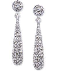 INC International Concepts - Silver-tone Teardrop Pavé Drop Earrings - Lyst