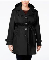 Calvin Klein | Plus Size Hooded Single-breasted Trench Coat | Lyst