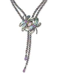 Carolyn Pollack - Freshwater Peacock Pearl (5mm) & Multi-gemstone (33 Ct. T.w.) Dragonfly Lariat Necklace In Sterling Silver - Lyst