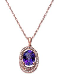Macy's - Amethyst (1-5/8 Ct. T.w.) & Diamond (1/5 Ct. T.w.) Pendant Necklace In 14k Rose Gold - Lyst