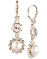 Marchesa - Gold-tone Imitation Pearl & Crystal Drop Earrings - Lyst