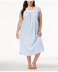 Miss Elaine - Plus Size Knit Embroidered-rose Nightgown - Lyst