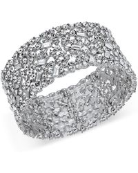 INC International Concepts - Silver-tone Wide Crystal Cluster Stretch Bracelet, Created For Macy's - Lyst