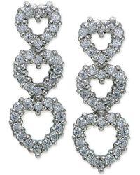 Giani Bernini - Cubic Zirconia Pavé Triple Heart Drop Sterling Silver Earrings - Lyst