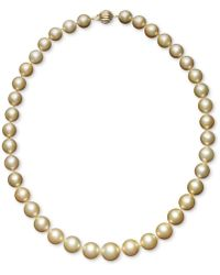 "Macy's - Pearl Necklace, 18"" 14k Gold Cultured Golden South Sea Pearl Graduated Strand (10-12-1/2mm) - Lyst"