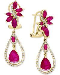 Effy Collection - Effy® Certified Ruby (4-1/2 Ct. T.w.) & Diamond (5/8 Ct. T.w.) Drop Earrings In 14k Gold - Lyst