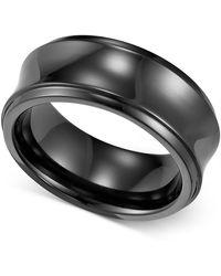 Triton - Men's Black Titanium Ring, Concave Wedding Band (8mm) - Lyst