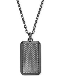 Emporio Armani - Men's Gunmetal Textured Dog Tag Pendant Necklace Egs2255 - Lyst