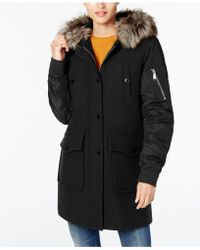 BCBGeneration | Faux-fur-trim Mixed-media Coat | Lyst