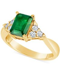 Macy's - Emerald (1-3/4 Ct. T.w.) And Diamond (1/4 Ct. T.w.) Ring In 14k Gold - Lyst