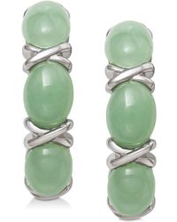 Macy's - Dyed Jadeite (5mm X 7mm) Curved Drop Earrings In Sterling Silver - Lyst