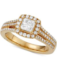 Marchesa - Celeste Halo By Certified Princess Cut Diamond Engagement Ring (1-1/5 Ct. T.w.) In 18k White - Lyst