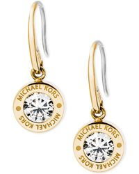 Michael Kors - Bezel Set Crystal Logo Drop Earrings - Lyst