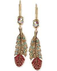 Betsey Johnson - Gold-tone Crystal And Pavé Feather Drop Earrings - Lyst